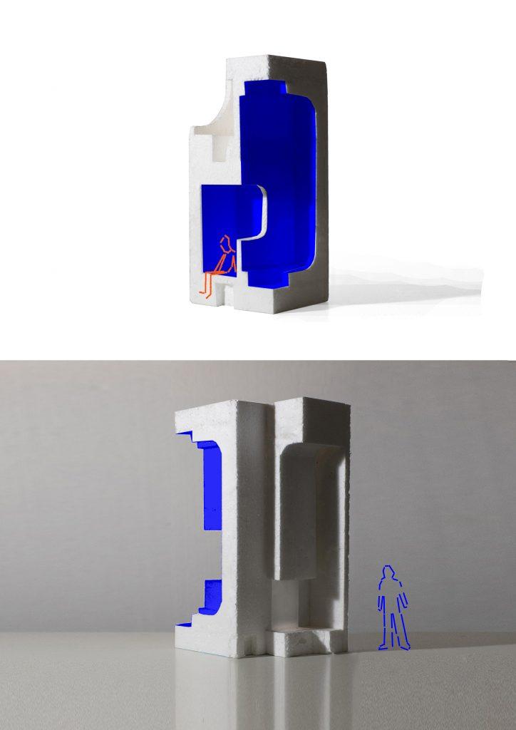 """Composição digital de maquetes de """"Elemento Pictográfico Habitável"""" (João Dias, 2018).[Créditos da Imagem: João Dias. 2018-11-07.][Cedência: João Dias Studio. 2019-07-15]"""