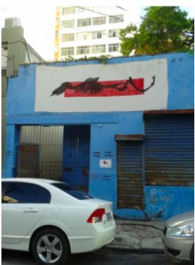 """""""Projecto Mutantes - rua Bar˜åo de Monjardim"""" (Mariana Reis, 2013).[Créditos da Imagem: Mariana Reis p/ Arte Pública Capixaba. 2013-10.]"""