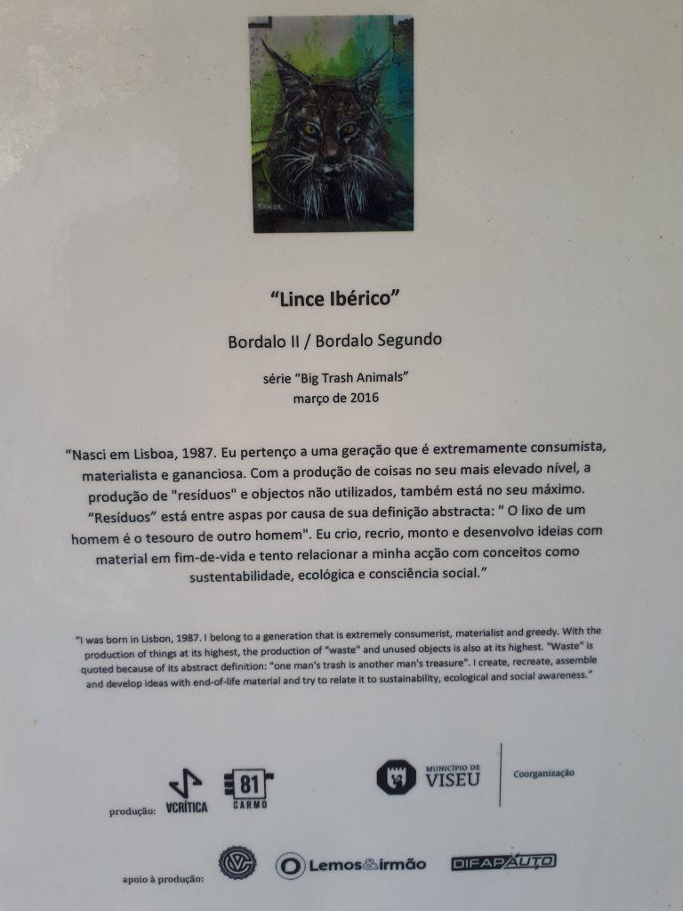 "Tabela de ""Lince Ibérico"" (Bordalo II, 2016).[Cedência: Carmo"
